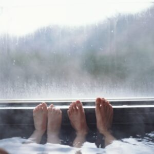Feet on window